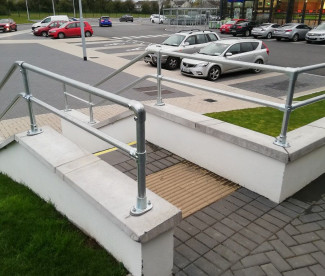 Pedestrian Safety Rails At Costa Coffee
