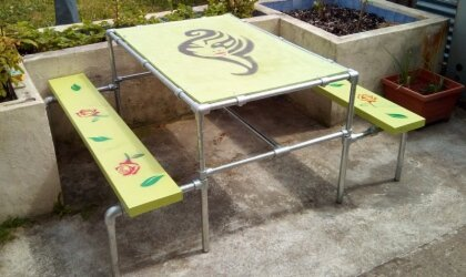 Custom Outdoor Table With Benches