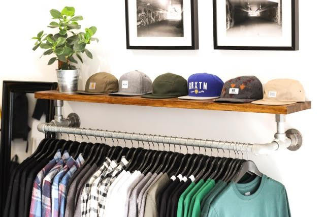 wall mounted clothing rail with shelf