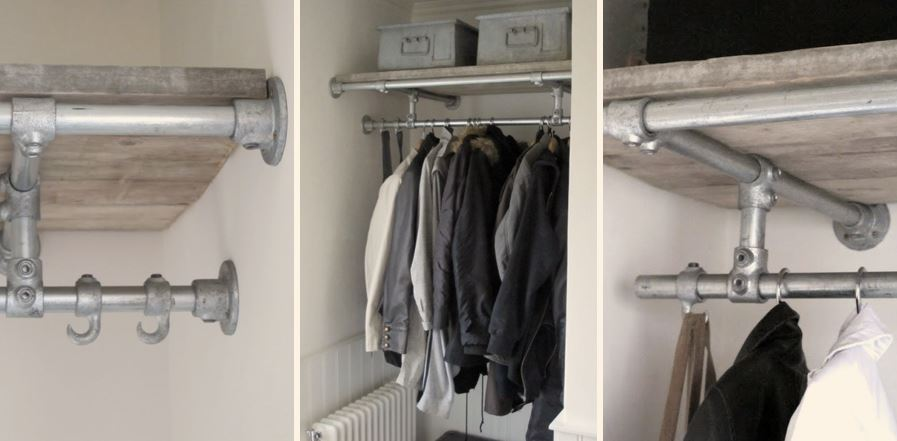 walk in wardrobe clothes rail