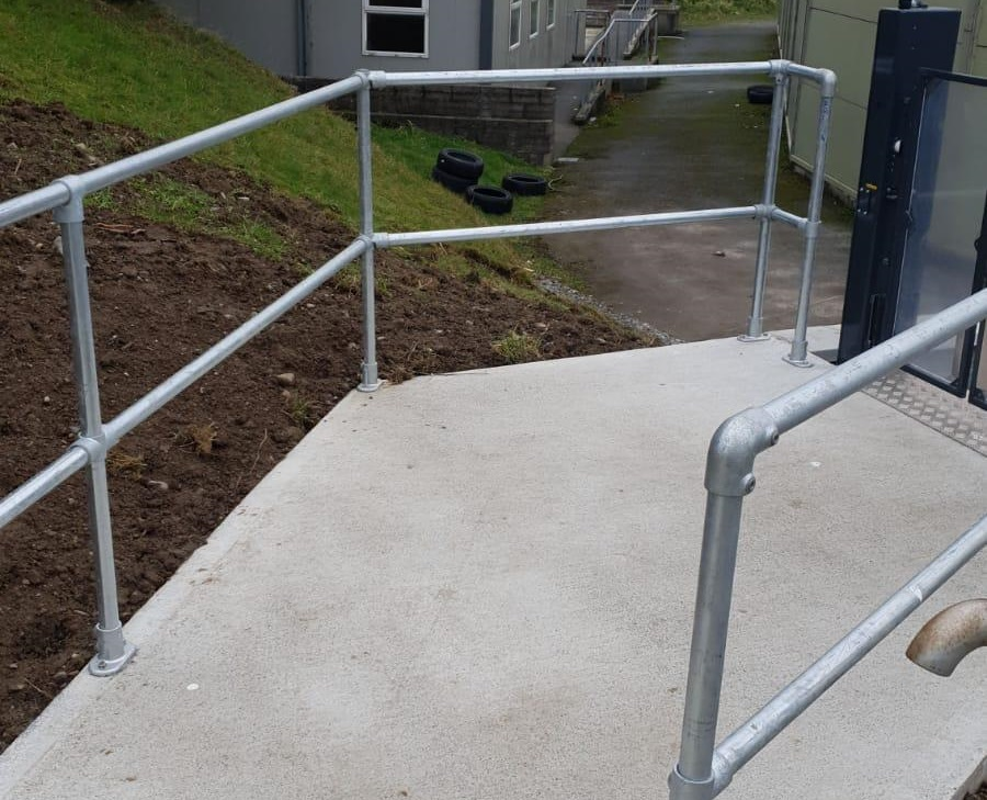 steel handrail to lift