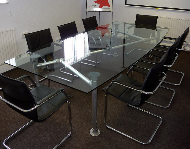 glass and steel conference table