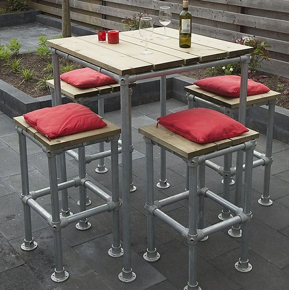 steel tube table and chairs