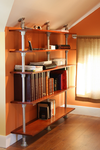 shelving unit to meet sloped roof