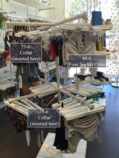 free-standing clothing rail built with kee klamp fittings